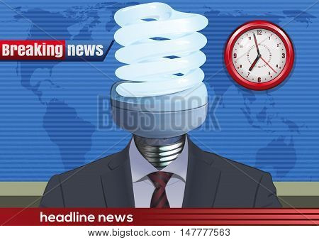 News announcer in the studio with a light bulb instead of the head. Vector illustration