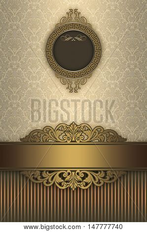 Vintage background with decorative borderframe and elegant old-fashioned patterns. Book cover or vintage card design.