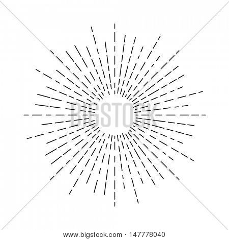 Burst of sun rays in hipster line style. Vector graphic lines of sun beams.Sun stylized geometrical pencil sketch ornament drawing for tattoo, decoration design element