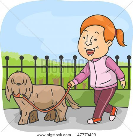 Illustration of a Sporty Girl in Tracksuit Taking Her Pet for a Walk in the Dog Park
