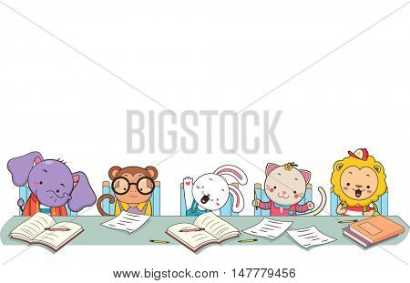 Cute Animal Border Illustration of a Monkey, Rabbit, Cat, and a Lion Studying in a Classroom