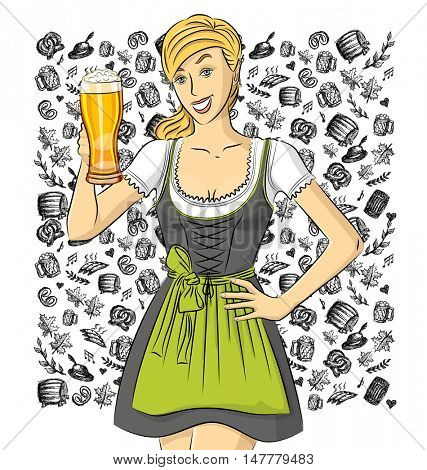 Vector cute woman on oktoberfest with beer in her hand