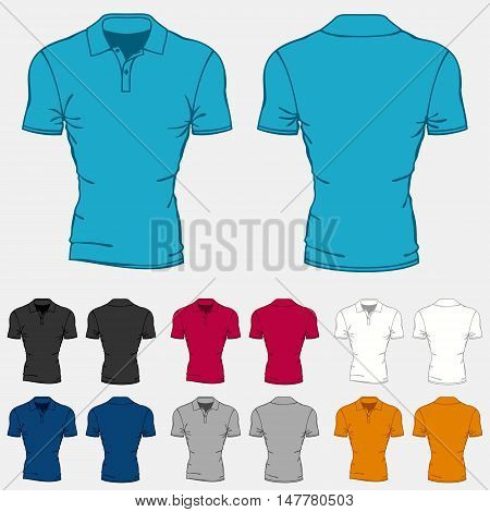 Set of colored polo-shirts templates for men.