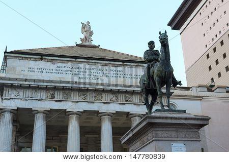 Garibaldi Monument And Opera House Teatro Carlo Felice In Genoa, Italy