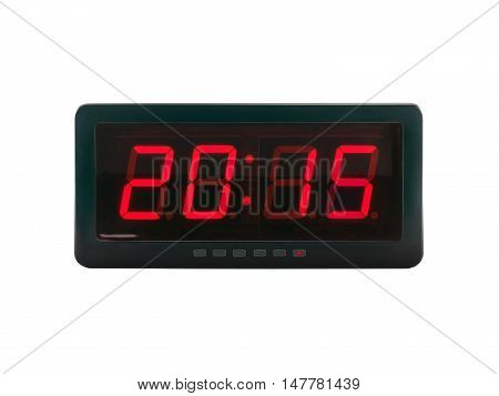 red led light illumination numbers 2015 on digital electronic alarm clock isolated on white background, A.D time symbol on clock face