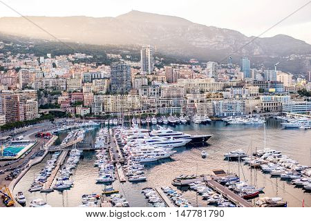 Cityscape view on the bay with luxury yachts on the french riviera in Monte Carlo in Monaco