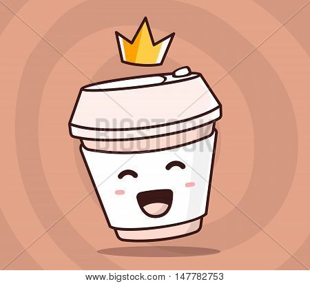 Vector illustration of color smile takeaway coffee cup with yellow crown on brown background. Creative cartoon coffee concept. Doodle style. Thin line art flat design of character coffee cup for best drink theme