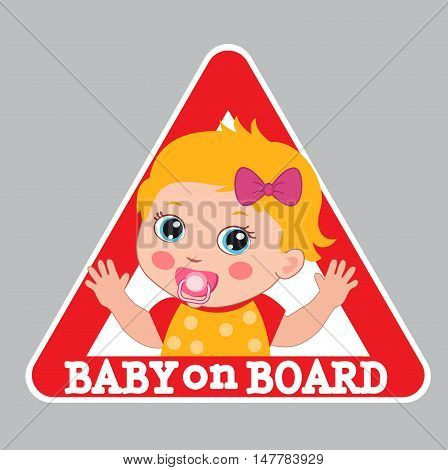Baby Girl On Board Vector Illustration. Baby On Board Sign. Car Warning Sign. Girl On Board Sticker.