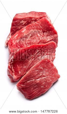 Crude meat on a white backgrounds .