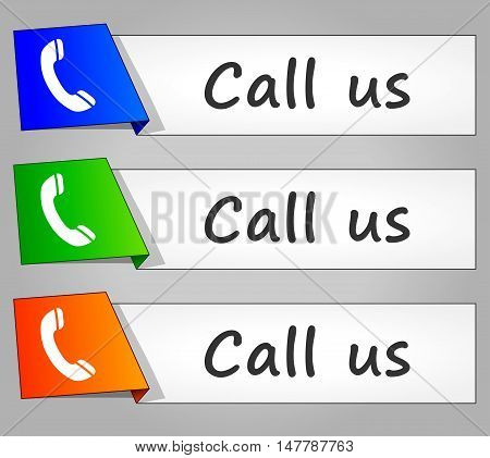 Illustration of call us paper design web buttons