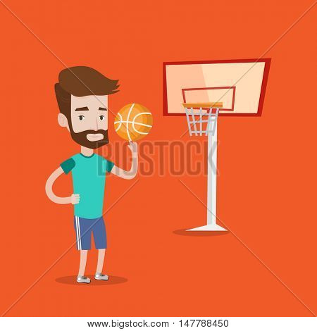 Hipster man with the beard spinning basketball ball on his finger. Young basketball player standing on the basketball court. Basketball player in action. Vector flat design illustration. Square layout