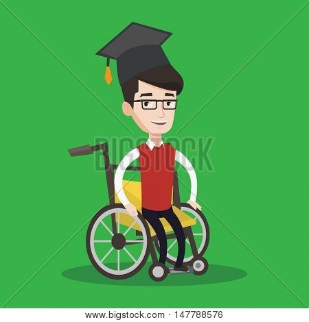 Cheerful graduate sitting in wheelchair. Young caucasian student sitting in wheelchair. Happy disabled graduate in graduation cap sitting in wheelchair. Vector flat design illustration. Square layout.