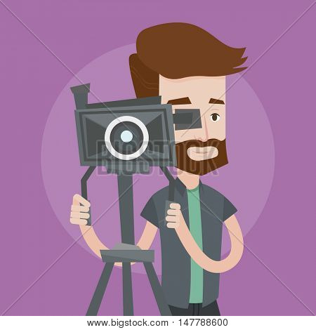 A hipster cameraman with the beard looking through movie camera on a tripod. Young man with professional video camera. A cameraman taking a video. Vector flat design illustration. Square layout.