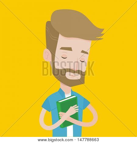 Young smiling student hugging his book. Happy joyful student likes read books. Peaceful student with eyes closed holding a book. Concept of education. Vector flat design illustration. Square layout.