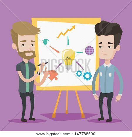 Two caucasian businessmen discussing a project near the board. Group of businessmen working together. Young men standing near the board with light bulb. Vector flat design illustration. Square layout.
