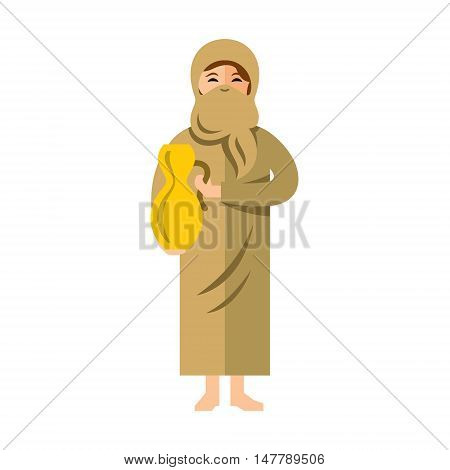 Arab girl with pitcher. Isolated on a white background
