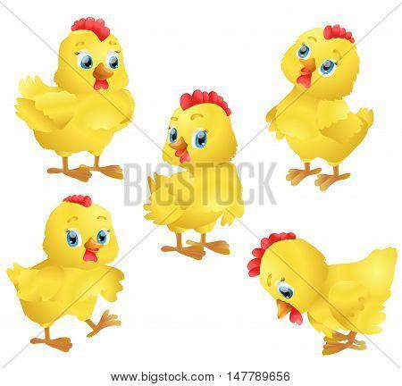 set of cute cartoon chickens. vector illustration