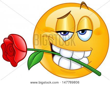 yellow ball holding rose between teeth in mouth