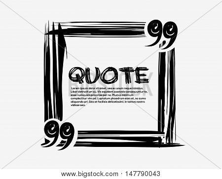 Hand drawn scribble square shape. Drawn square template. Drawn quotes and frame blank template. Empty template. Vector quote form