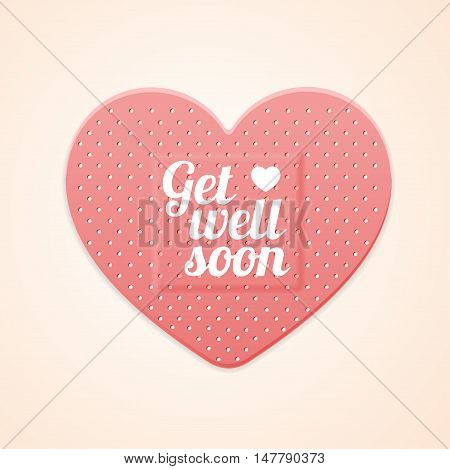 Aid Band Plaster Strip Medical Patch Heart Card. Vector illustration