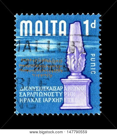 MALTA - CIRCA 1965 : Cancelled postage stamp printed by Malta, that shows Monument.