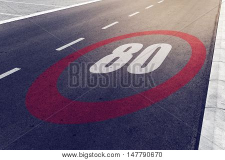 80 kmph or mph driving speed limit sign on highway road safety and preventing traffic accident concept.