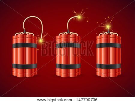 Detonate Dynamite Bomb Set Detonate Dynamite Bomb. Vector illustration