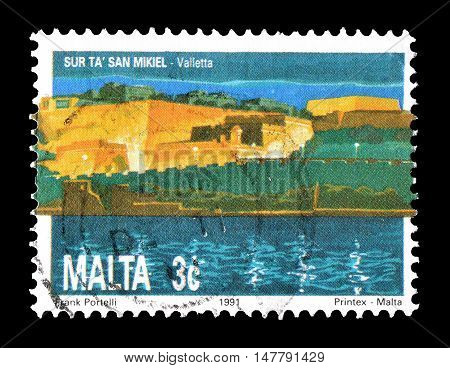 MALTA - CIRCA 1991 : Cancelled postage stamp printed by Malta, that shows  Bastion of Saint Michael in Valletta.