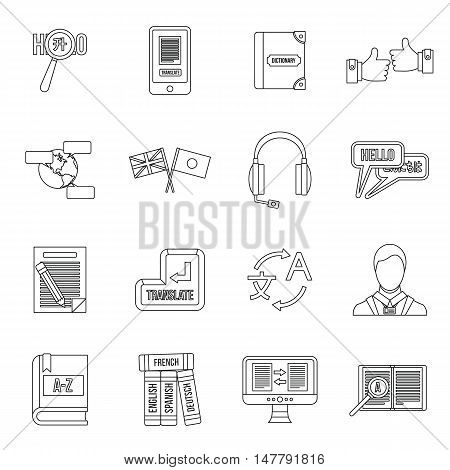 Learning foreign languages icons set in outline style. Language interpreter set collection vector illustration