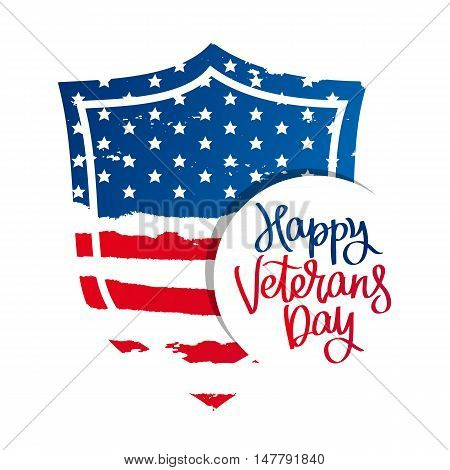 Shield in the form of an American flag. Happy Veterans Day. Vector illustration on white background. Great holiday gift card.
