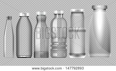 Vector set of transparent glass jar bottle for milk, juice and water mockup ready for your design