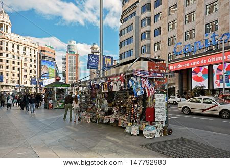 Madrid-April 27:View Gran Via one of the most famous street of the city on April 27 2015 in Madrid