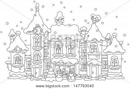 Black and white vector illustration of toy houses covered with snow on Christmas
