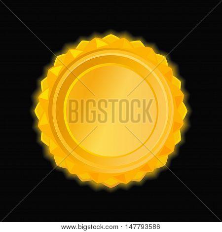 Gold medallion on a dark background. Shiny round golden medal. Vector illustration of gold starburst shape