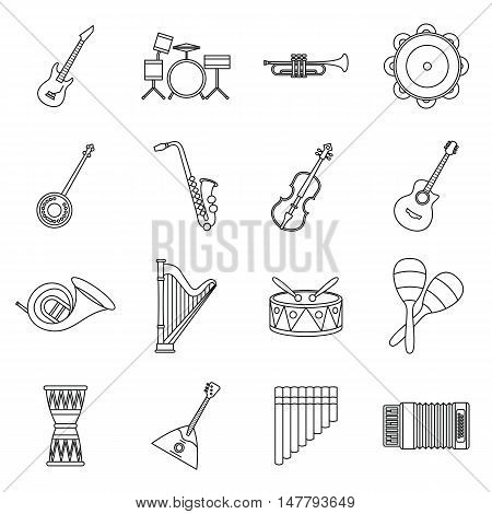 Musical instruments icons set in outline style. Orchestra instruments set collection vector illustration