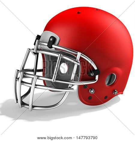 3D Red American Football Helmet