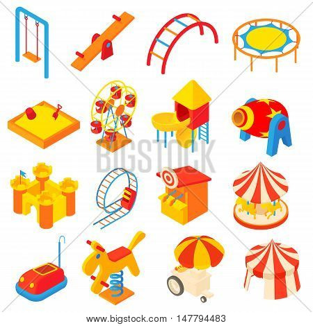 Amusement park icons set in cartoon style. Attraction park set collection vector illustration