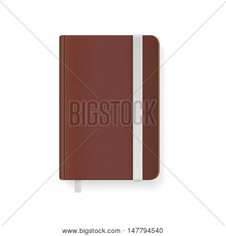 Blank Brown Copybook Template with Elastic Band and Bookmark. Vector illustration
