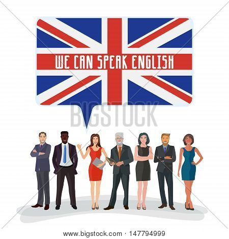 group of business people standing with speech bubble colored in english flag