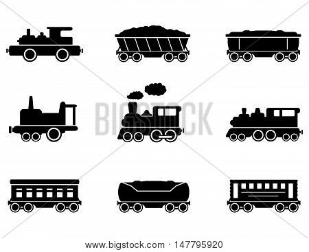 set of isolated train icons on white background