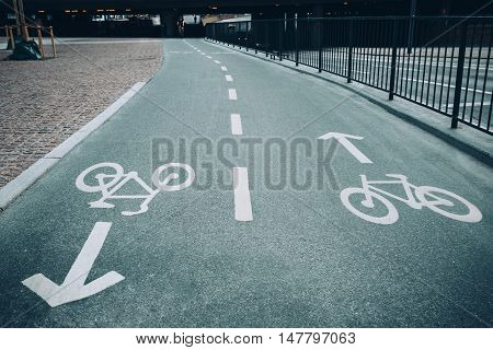 Bike Paintings On The Floor Indicating Two-way