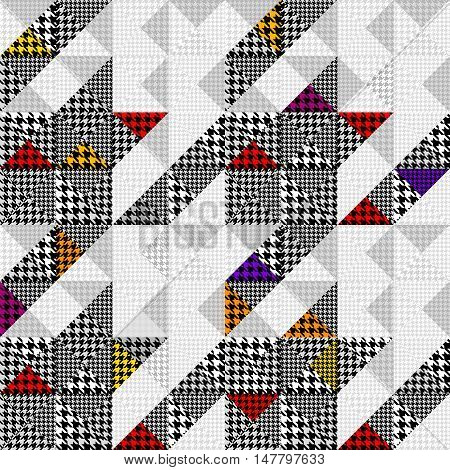 Seamless Hounds-tooth pattern of Hounds-tooth patterns in a patchwork style.