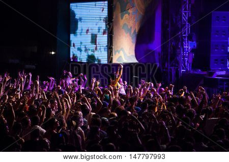 BUDVA- JULY 19 : CROWD IN FRONT OF THE MAIN STAGE MORNING SESSION AT BEACH AT SEA DANCE FESTIVAL 2015 MUSIC FESTIVAL JULY 19 2015 IN BUDVA JAZ BEACH MONTENEGRO