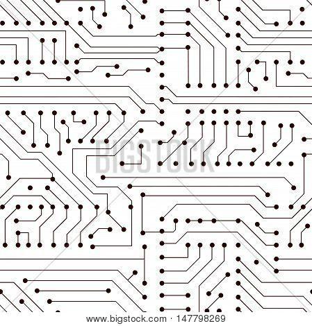 Vector seamless simple black circuit board pattern