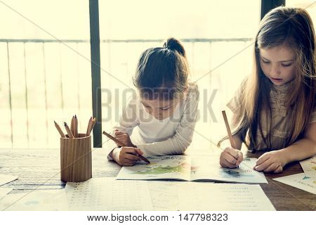 Kids Learning Study Girls Concept