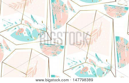 Hand drawn vector abstract artistic geometric seamless pattern with crystal terrarium and brunch in gold, pastel and tiffany blue colors isolated on white background.Polygonal artistic background.