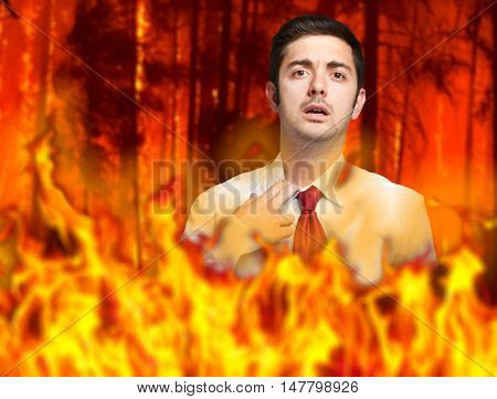 Businessman in flames: stressed by troubles