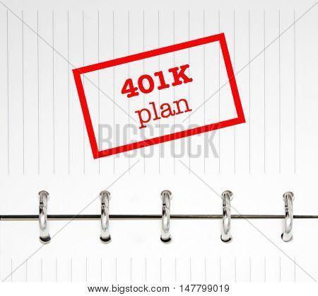 401k written on an agenda