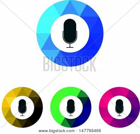 Modern Low Poly Ring Microphone or Pod Cast Icons