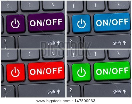 Laptop Button With On And Off Text